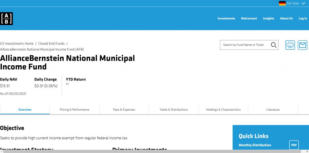 AllianceBernstein National Municipal Income Fund: Monatliche Dividende