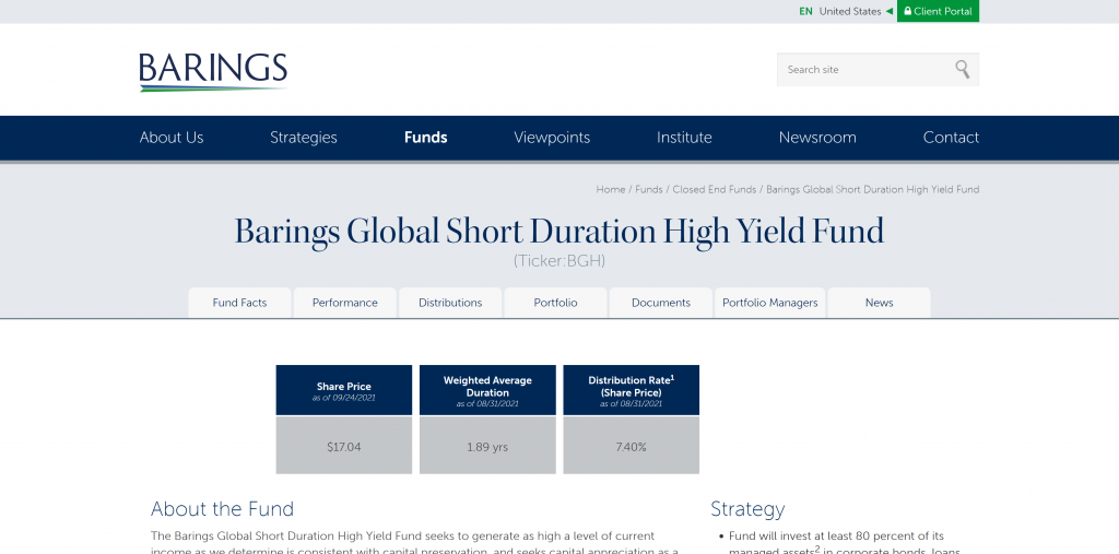 Barings Global Short Duration High Yield Fund: Monatliche Dividende
