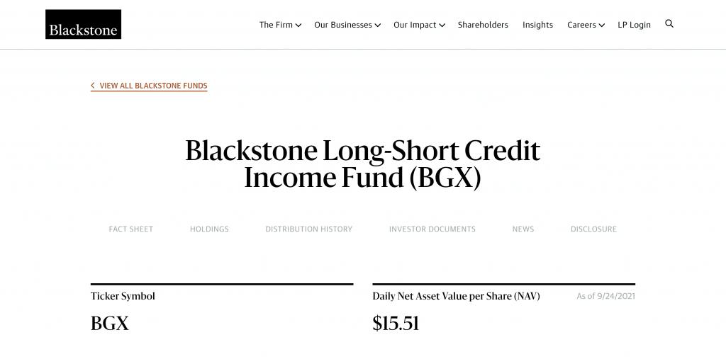Blackstone Long-Short Credit Income Fund: Monatliche Dividende